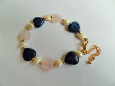 Gemstone heart bracelet by CoastalMoonJewellery on Etsy