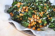 Roasted Kale and Chickpea Salad with Lemon Tahini Dressing Roasted Chickpea and Kale Salad Roasted Kale Salad, Roasted Garbanzo Beans, Kale Salad Recipes, Roasted Vegetables, Veggie Recipes, Whole Food Recipes, Vegetarian Recipes, Healthy Recipes, Healthy Eats