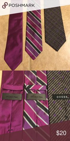 Men's Bundle 3 Designer Ties- Calvin Klein & Guess Great price on 3 gorgeous men's ties. Two Calvin Klein and 1 Guess.  Pink and purples. Brand new condition. Less than 7$ per tie in this bundle! Calvin Klein Accessories Ties