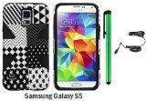 Samsung Galaxy S5 Dynamic Slim Hybrid Premium Pretty Design Protector Cover Case + Car Charger + 1 of New Assorted Color Metal Stylus Touch Screen Pen (Checkered Star Plastic / Black Silicone)