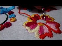 Hand embroidery- romanian stitch flowers and fish bone leaves- leisha's galaxy. - YouTube