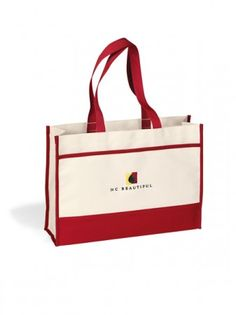 Smart Accent Tote, Custom Logo - Femme Promo, promo, giveaway, wholesale. #femmepromo #redtotebags #giveawaytotes #promoredtotes