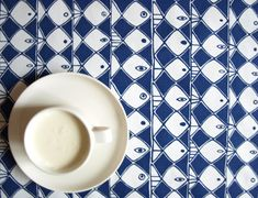 Tablecloth white navy blue abstract fishes  also by Dreamzzzzz, $15.00