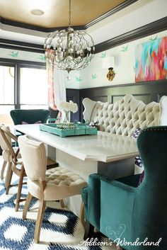 Creating a whimsical yet elegant and sophisticated dining room by layering fun colors and patterns. This room features a unique mix of furnishings and HomeGoods accessories.