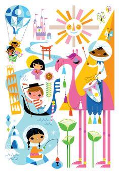 Mary Blair, it's a small world, disney, party Mary Blair, Retro Disney, Vintage Disney, Disney Love, Disney Cars, Disney Artwork, Disney Drawings, Joey Chou, Disney Artists