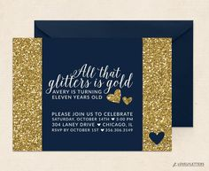 All That Glitters is Gold Invitation / Tween Girls Birthday Invitation / Glitter Birthday Party Theme (16.00 USD) by LovelyLettersDesign