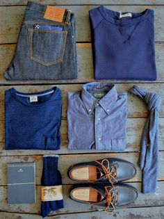 Outfit grid - Shades of blue Style Casual, Smart Casual, Casual Wear, My Style, Casual Attire, Style Men, Outfit Grid, Look Fashion, Fashion Boots