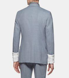 ERMENEGILDO ZEGNA: Veston - Couture Serge de laine Col avec revers Fente da Bleu-gris, Détail 4 - 41417425FV