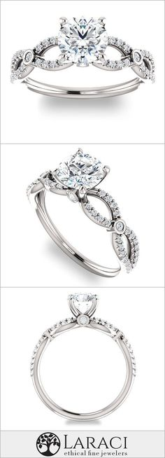 14K White Gold Infinity Engagement Ring with Accents set with a 1ct (6.5mm) Round Forever One Near Colorless Moissanite