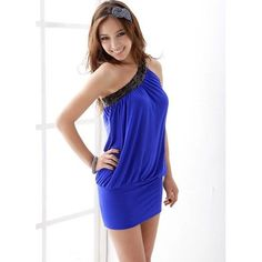 New Fashion New Women Sexy Clubwear Cocktail Party One Off Shoulder Sleeveless Mini Dress