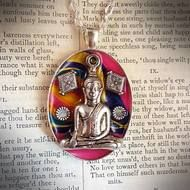 """Indian Summer - Silver plated large Buddha pendant with a swirling bright background and engraved silver plated decorations set in resin. Size - 3cm x 4cm. On a silver plated chain - length - 18"""" - 20"""", with a small engraved sunflower at the end of the extender chain. Gift wrapped and sent by signed for royal mail delivery. Price - £22.99. p - £2.50."""
