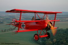 First World War Folker Tri-plane as flown by the evil legendary pilot, the Red Baron.