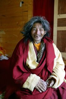 Tibetan hermit just out of a 6-year meditation retreat (Tibet, 2004)