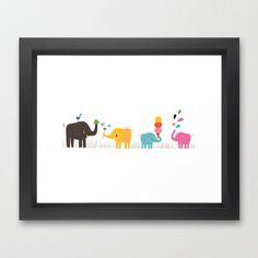 Love this sweet print from Joanne Liu. :: Colorful Elephants Framed Art Print