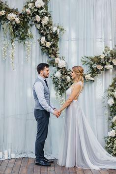 White flowers   Greenery garland and draping fabric wedding backdrop wedding ceremony decorations | fabmood.com #weddingdecor #weddingbackdrop
