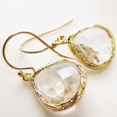 Clear Crystal Drop Earrings, 14k gold filled - CRYSTAL CLEAR