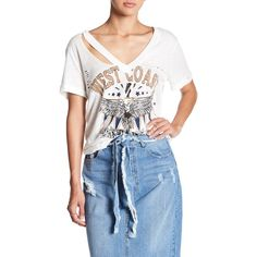 OOBER SWANK West Coast Distressed Tee ($30) ❤ liked on Polyvore featuring tops, t-shirts, white, white v neck t shirt, v neck graphic tee, graphic t shirts, ripped t shirt and white t shirt