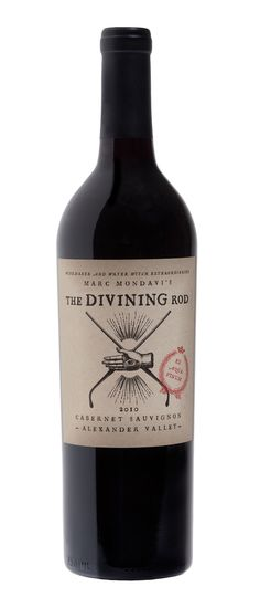 Branding and package design for 'The Divining Rod',  the first new brand for Charles Krug/C. Mondavi & Family Wines in over 50 years.