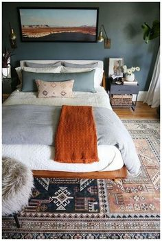 Cozy bedroom decor and bedding - Green Bedroom Reveal - Juniper Home Bedroom Orange, Bedroom Colors, Cozy Bedroom, Bedroom Decor, Bedroom Ideas, Design Bedroom, Master Bedroom, Bedroom Furniture, Diy Furniture