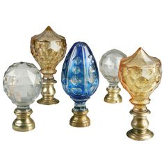 Collection Of Five Optical Victorian Newel Post Finials Or Boule Du0027 Escalier