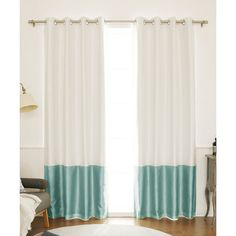Best Home Fashion Ivory & Blue Color Block Blackout Panel ($42) ❤ liked on Polyvore featuring home, home decor, window treatments, curtains, cream curtains, blackout panels, blue grommet curtains, grommet blackout curtains and ivory curtains