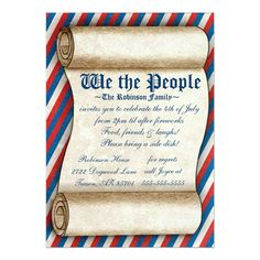 "We the People 4th of July Party Invitations 5"" X 7"" Invitation Card"