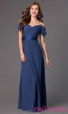 Floor Length Formal Dress with Cold Shoulders at PromGirl.com