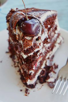 Eat Me Drink Me, Food And Drink, Cherry Deserts, Black Forest Cake, Nutella, Sweet Home, Cooking Recipes, Sweets, Chocolate