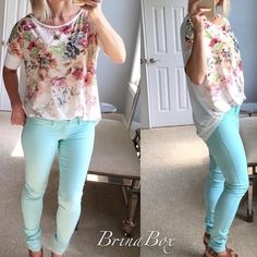 Floral Blouse I have small medium and large. Runs long and oversized for long style trend. Wear with leggings or skinnies! Great top pastel colors Brina box Tops