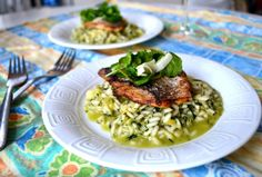 Wild Garlic Risotto with Bream. Creamy wild garlic and leek risotto with crispy skin bream and lemony shaved fennel and watercress salad. Rice Dishes, Main Dishes, Watercress Salad, Wild Garlic, Eat Seasonal, Savoury Dishes, Fish And Seafood, Seafood Recipes, Noel
