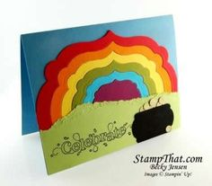 Rainbow  Pot of Gold card with Stampin' Up! Labels Framelits  Stampin' Up! Outlined Occasions stamp set