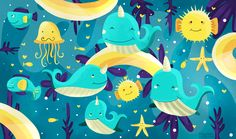 """Narwhals or as i like to call them """"Unicorns of the sea""""  https://www.facebook.com/KatjaPotokarIllustration/"""