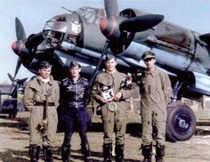 A German Junkers Ju-88A-4 bomber crew and its aircraft