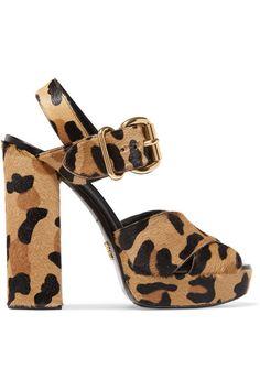 Prada - Leopard-print Calf Hair Platform Sandals - Leopard print - IT37.5
