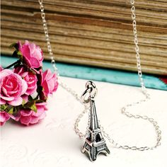 Grace & Valour Eiffel Tower Necklace In Sterling Silver ($26) ❤ liked on Polyvore featuring jewelry, necklaces, sterling silver necklace, cocktail jewelry, sterling silver jewellery, sterling silver jewelry and holiday jewelry