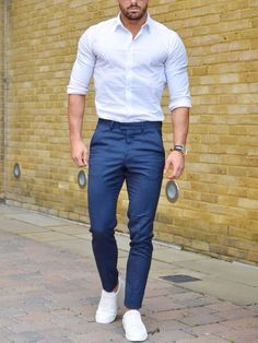 Men'S fashion # fashion for men # mode homme # men's wear Semi Formal Outfits, Formal Men Outfit, Formal Dress, Mode Outfits, Casual Outfits, Casual Attire, Casual Shirt, White Sneakers Outfit, White Shirt Outfits