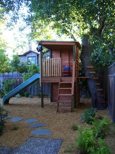 boys playhouse ideas   boys fort on stilts with slide and tree ladder