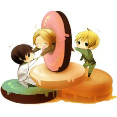 Hetalia ~Chibi America is stuck in a donut, Japan is helping......England not so much...