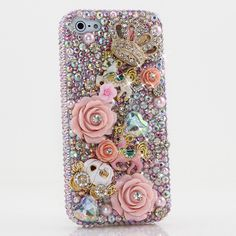 iPhone 6S PLUS Bling Case, iPhone 6 PLUS Case - LUXADDICTION® [Premium Quality] 3D Handmade Crystallized Bling Case Swarovski Crystals Diamond Sparkle Horse with Carriage in AB Pink Crystals Cover