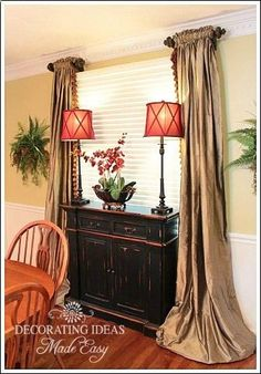 Dining room decorating ideas, from window treatments, wall decor, to table centerpiece ideas.
