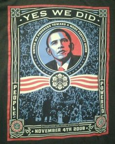 Obey Obama Shepard Fairey Yes We Did Vintage T shirt Size XL gray #Obey #GraphicTee