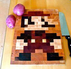 End Grain 8 Bit Mario Cutting Board
