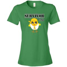 Childhood Cancer Survivor Chick shirts, apparel and unique gifts featuring our originally illustrated cancer fighter chick wearing a head scarf and an awareness ribbon to support her cause