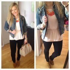 Coral teardrop necklace #francescas , jean jacket #abercrombie, blouse #forever21 , black skinny pant #gap