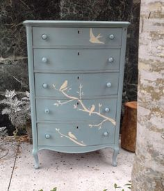 Tall Dresser Hand Painted Birds, Accented with Glass Knobs, Shabby Chic, Cottage Inspired via Etsy Hand Painted Furniture, Repurposed Furniture, Shabby Chic Furniture, Shabby Chic Decor, Vintage Furniture, Furniture Projects, Furniture Makeover, Diy Furniture, Wooden Projects