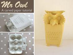 Owl Sculpture from egg carton