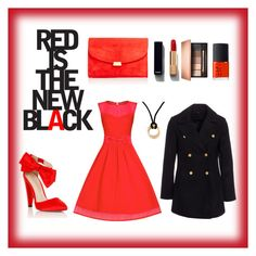 """""""Red is the new black"""" by lucysefco on Polyvore featuring Lipsy, New Look, Mansur Gavriel, Chanel, Clarins, Cartier and NARS Cosmetics"""
