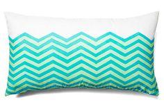 One Kings Lane - Resort at Home - Waves 12x22 Lumbar Pillow, Teal