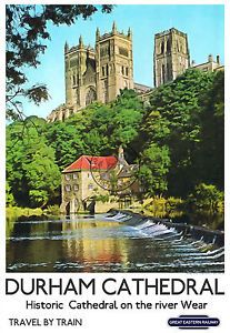 View of the Cathedral over the river. British Railways 'Travel by Train' Poster Posters Uk, Train Posters, Railway Posters, Places To Travel, Places To Visit, Durham Cathedral, British Travel, Templer, Over The River