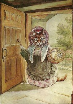 """'The Tale of Samuel Whiskers or The Roly-Poly Pudding', 1908 -- Beatrix Potter. """"The visitor was a neighbour, Mrs. Ribby; she had called to borrow some yeast."""" *** Ribby is framed in the doorway at Potter's HILL TOP HOUSE."""